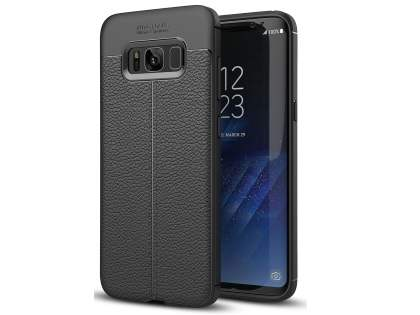 Leather Look Gel Case for Samsung Galaxy S8 - Black Soft Cover