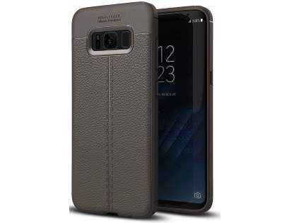 Leather Look Gel Case for Samsung Galaxy S8 - Dark Grey Soft Cover