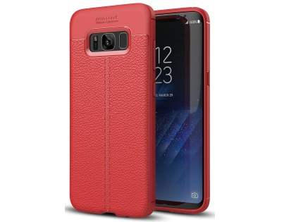 Leather Look Gel Case for Samsung Galaxy S8 - Fluorescent Coral Soft Cover