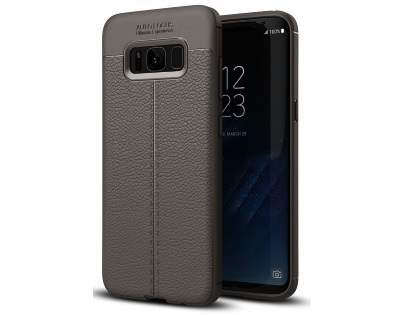 Leather Look Gel Case for Samsung Galaxy S8+ - Dark Grey Soft Cover