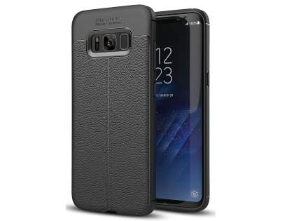 Leather Look Gel Case for Samsung Galaxy S8+ - Black Soft Cover
