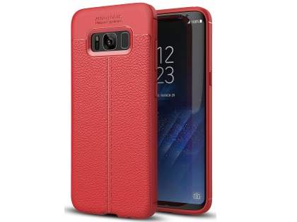 Leather Look Gel Case for Samsung Galaxy S8+ - Fluorescent Coral Soft Cover