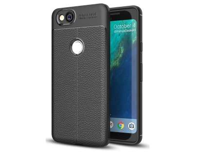 Leather Look Gel Case for Google Pixel 2 - Black Soft Cover