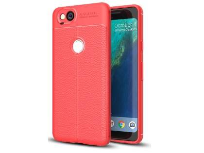Leather Look Gel Case for Google Pixel 2 - Fluorescent Coral Soft Cover