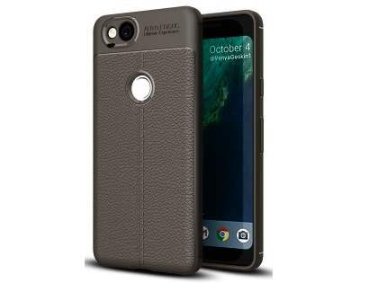 Leather Look Gel Case for Google Pixel 2 - Dark Grey Soft Cover
