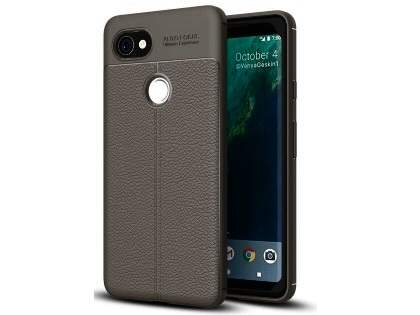 Leather Look Gel Case for Google Pixel 2 XL - Dark Grey Soft Cover