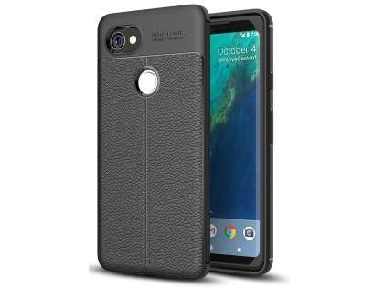 Leather Look Gel Case for Google Pixel 2 XL - Black Soft Cover