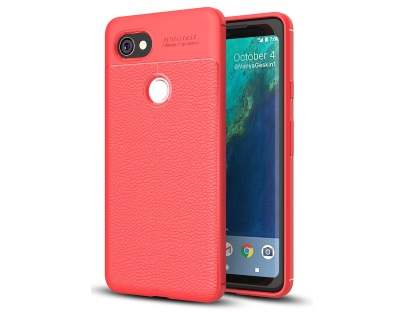 Leather Look Gel Case for Google Pixel 2 XL - Fluorescent Coral Soft Cover