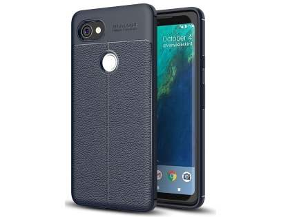 Leather Look Gel Case for Google Pixel 2 XL - Navy Soft Cover