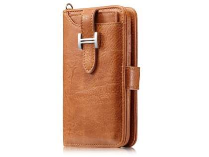 2-in-1 Synthetic Leather Wallet Case for iPhone 8/7 - Brown Leather Wallet Case
