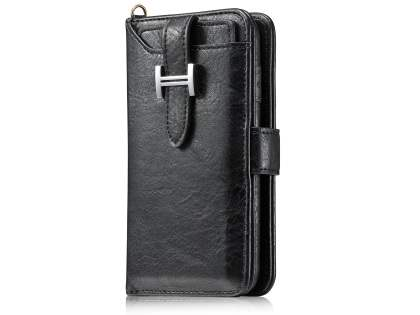2-in-1 Synthetic Leather Wallet Case for iPhone 8 Plus/7 Plus - Black Leather Wallet Case