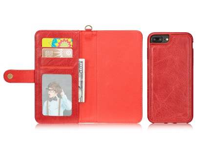 2-in-1 Synthetic Leather Wallet Case for iPhone 8 Plus/7 Plus - Red