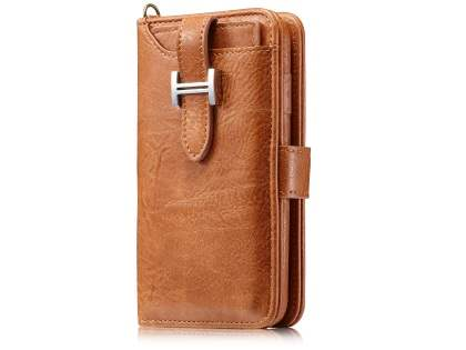 2-in-1 Synthetic Leather Wallet Case for iPhone Xs/X - Brown Leather Wallet Case