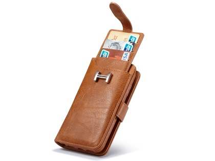 2-in-1 Synthetic Leather Wallet Case for iPhone Xs/X - Brown