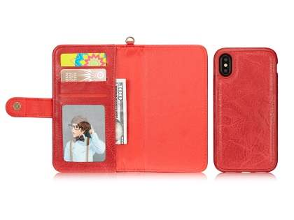 2-in-1 Synthetic Leather Wallet Case for iPhone Xs/X - Red