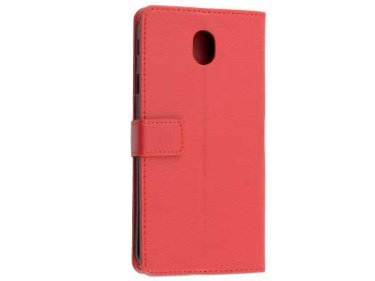 Synthetic Leather Wallet Case with Stand for Samsung Galaxy J7 Pro (2017) - Red Leather Wallet Case