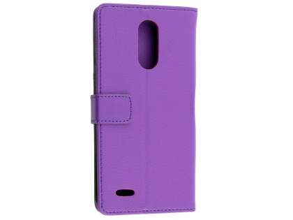 Synthetic Leather Wallet Case with Stand for LG K10 (2017) - Purple Leather Wallet Case