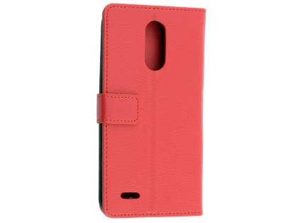 Synthetic Leather Wallet Case with Stand for LG K10 (2017) - Red Leather Wallet Case