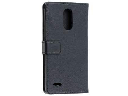 Synthetic Leather Wallet Case with Stand for LG K10 (2017) - Black Leather Wallet Case