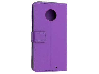 Synthetic Leather Wallet Case with Stand for Motorola Moto X4 - Purple Leather Wallet Case