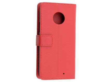 Synthetic Leather Wallet Case with Stand for Motorola Moto X4 - Red Leather Wallet Case