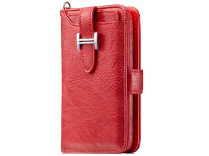 2-in-1 Synthetic Leather Wallet Case for Samsung Galaxy S8 - Red Leather Wallet Case