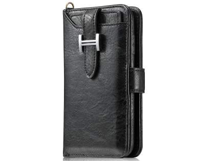 2-in-1 Synthetic Leather Wallet Case for Samsung Galaxy S8+ - Black Leather Wallet Case