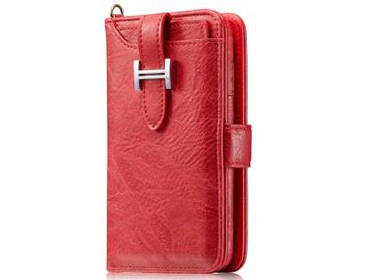 2-in-1 Synthetic Leather Wallet Case for Samsung Galaxy S8+ - Red Leather Wallet Case