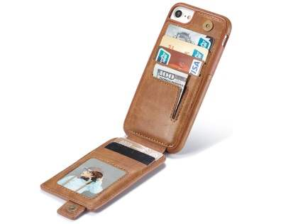Synthetic Leather Case with Card Holder for iPhone 8/7 - Brown