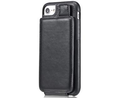 Synthetic Leather Case with Card Holder for iPhone 8/7 - Black Leather Wallet Case