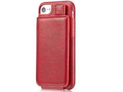 Synthetic Leather Case with Card Holder for iPhone 8/7 - Red Leather Wallet Case