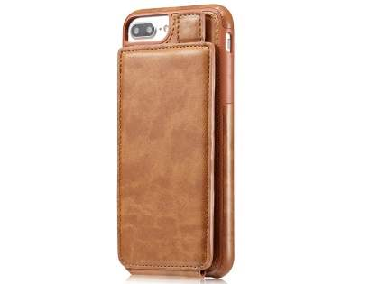 Synthetic Leather Case with Card Holder for iPhone 8 Plus/7 Plus - Brown Leather Wallet Case