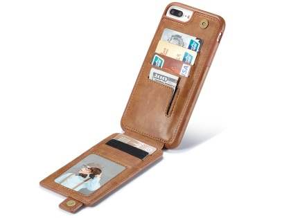 Synthetic Leather Case with Card Holder for iPhone 8 Plus/7 Plus - Brown