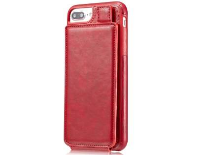 Synthetic Leather Case with Card Holder for iPhone 8 Plus/7 Plus - Red Leather Wallet Case