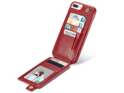 Synthetic Leather Case with Card Holder for iPhone 8 Plus/7 Plus - Red