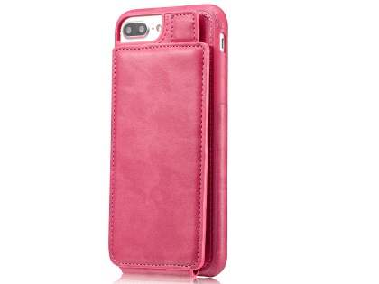 Synthetic Leather Case with Card Holder for iPhone 8 Plus/7 Plus - Pink Leather Wallet Case