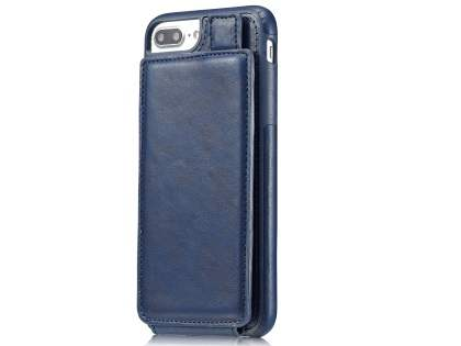 Synthetic Leather Case with Card Holder for iPhone 8 Plus/7 Plus - Navy Leather Wallet Case