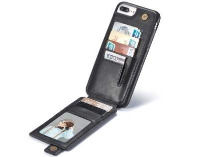 Synthetic Leather Case with Card Holder for iPhone 8 Plus/7 Plus - Black