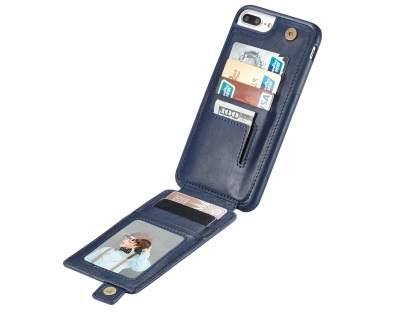 Synthetic Leather Case with Card Holder for iPhone 8 Plus/7 Plus - Navy