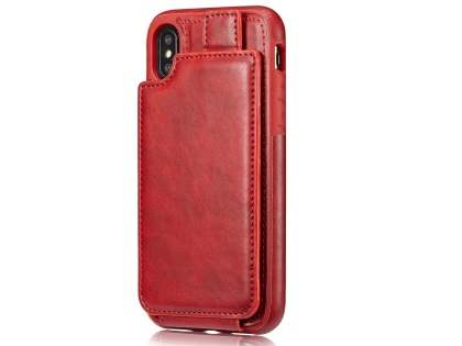 Synthetic Leather Case with Card Holder for iPhone X - Red Leather Wallet Case