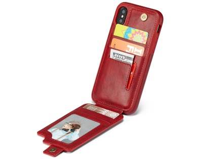 Synthetic Leather Case with Card Holder for iPhone X - Red