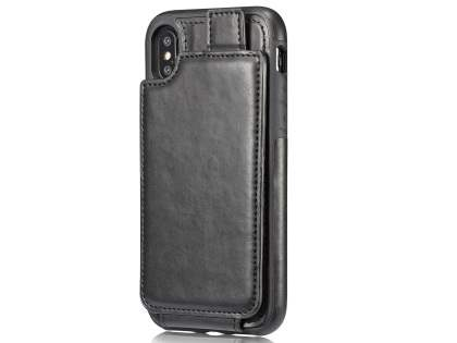 Synthetic Leather Case with Card Holder for iPhone X - Black Leather Wallet Case