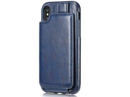 Synthetic Leather Case with Card Holder for iPhone X - Navy Leather Wallet Case