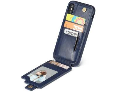 Synthetic Leather Case with Card Holder for iPhone Xs/X - Navy