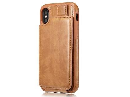 Synthetic Leather Case with Card Holder for iPhone X - Brown Leather Wallet Case