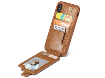 Synthetic Leather Case with Card Holder for iPhone X - Brown