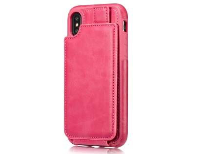 Synthetic Leather Case with Card Holder for iPhone X - Pink Leather Wallet Case