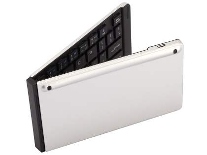 Slim Foldable Bluetooth Mini Keyboard with Stand - Silver Keyboard