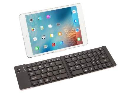 Slim Foldable Bluetooth Mini Keyboard with Stand - Silver