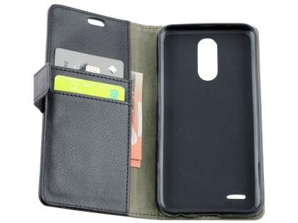 Synthetic Leather Wallet Case with Stand for LG K10 (2017) - Black